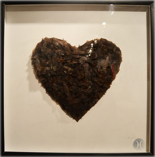 "Joseph Grazi ,""Love"" 122 taxidermied bats on wood panel"