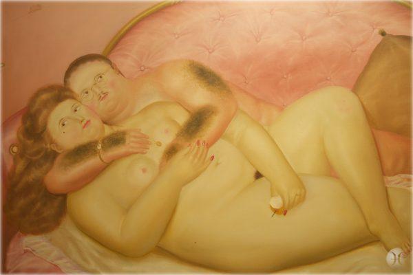 """Ferndando Botero, """"Amentes Sobre el sofà francès"""" 1972"""